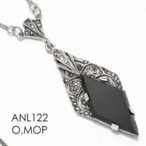 The whatnot marcasite pendant with onyx aloadofball Image collections